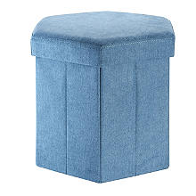 Hexagonal Foldable Storage Ottoman Teal 35L