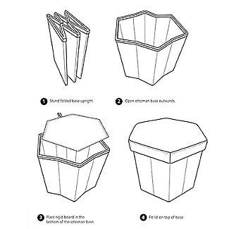 Hexagonal Foldable Storage Ottoman Teal 35L alt image 8