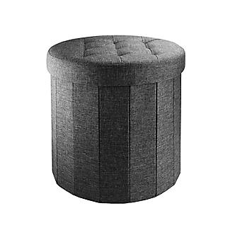 Foldable Round  Storage Ottoman Grey 50L