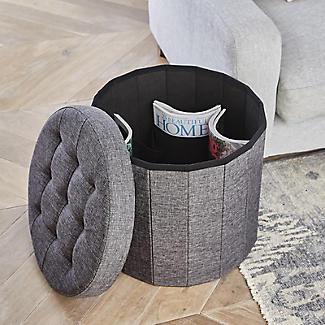 Foldable Round  Storage Ottoman Grey 50L alt image 2