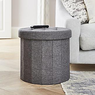 Foldable Round  Storage Ottoman Grey 50L alt image 3
