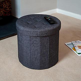 Foldable Round  Storage Ottoman Grey 50L alt image 4