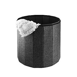Foldable Round  Storage Ottoman Grey 50L alt image 6