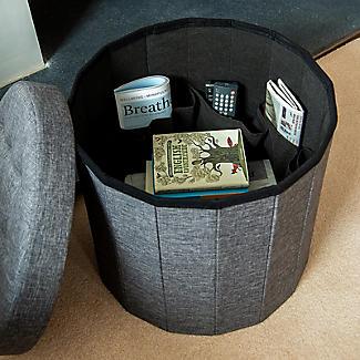 Foldable Round  Storage Ottoman Grey 50L alt image 7