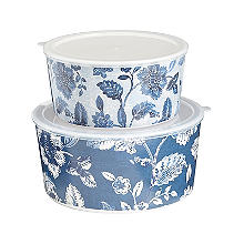 Summer Blooms Melamine Lidded Bowl Duo