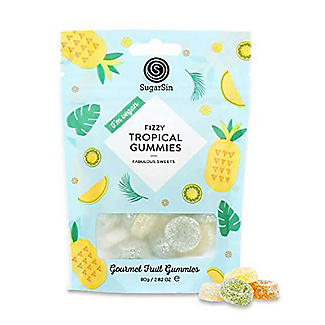 SugarSin Fizzy Tropical Gourmet Fruit Gummies Pouch 80g