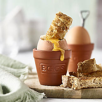 2 Flowerpot Egg Cups with Shovel-Shaped Spoons alt image 2