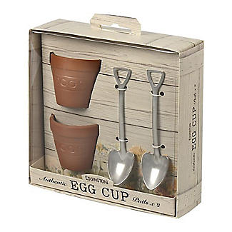 2 Flowerpot Egg Cups with Shovel-Shaped Spoons alt image 4