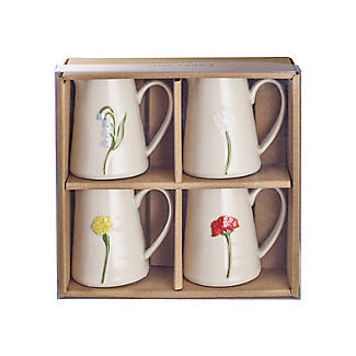 Lakeland Small Floral Ceramic Milk Jugs – Set of 4