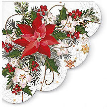 Round Poinsettia Scallop Edge Paper Christmas Napkins – Pack of 12