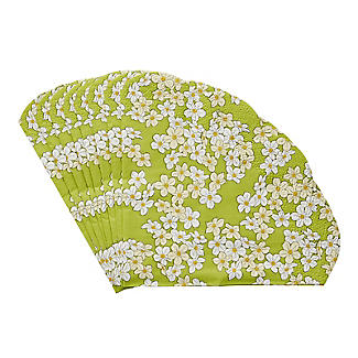 12 Round Scalloped Floral Napkins