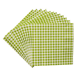20 Green Gingham 3-Ply Napkins