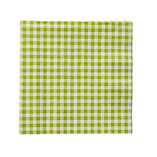 20 Green Gingham 3-Ply Napkins alt image 2
