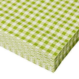 20 Green Gingham 3-Ply Napkins alt image 3