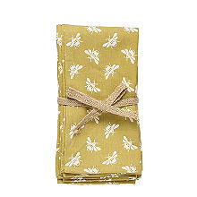 Walton & Co. Bee Napkin Set Yellow – Pack of 4