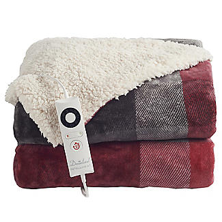 Velvety Electric Heated Throw Grey and Red Check – 135 x 180cm