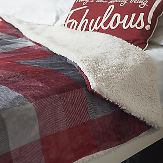 Velvety Electric Heated Throw Grey and Red Check – 135 x 180cm alt image 2