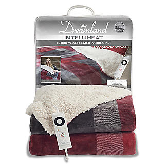 Dreamland Velvety Electric Heated Throw Grey and Red Check – 135 x 180cm alt image 7