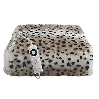 Leopard Print Faux Fur Heated Throw – 120 x 160cm