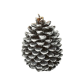 Frosted Pine Cone Christmas Candle 12cm