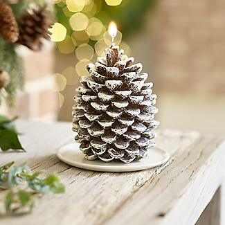 Frosted Pine Cone Christmas Candle 12cm alt image 2
