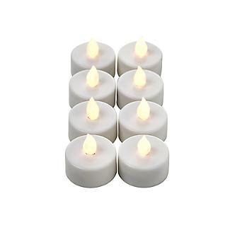 Remote Control White Flickering LED Tealights – Set of 8 alt image 2