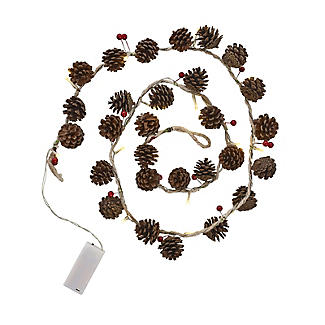 LED Pine Cone & Berry Garland Christmas Decoration 150cm