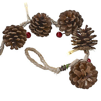 LED Pine Cone & Berry Garland Christmas Decoration 150cm alt image 2