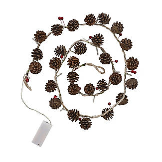 LED Pine Cone & Berry Garland Christmas Decoration 150cm alt image 3