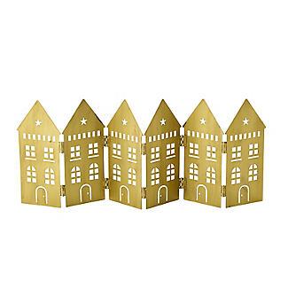 LED Folding Row of Golden Houses Christmas Decoration 44 x 17cm H.