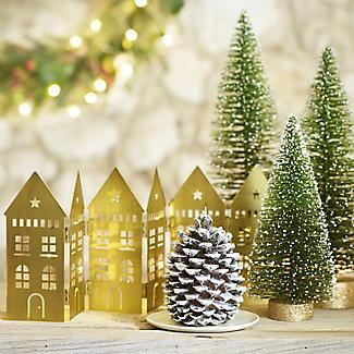 LED Folding Row of Golden Houses Christmas Decoration 44 x 17cm H. alt image 2