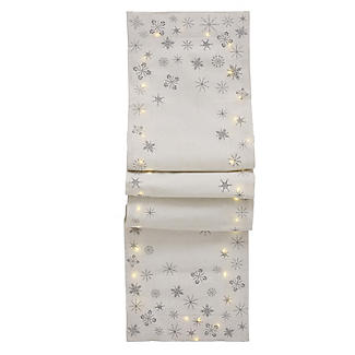 LED Light-Up Christmas Table Runner with Snowflake Motif 200 x 33cm