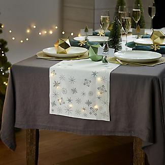 LED Light-Up Christmas Table Runner with Snowflake Motif 200 x 33cm alt image 2