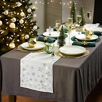 LED Light-Up Christmas Table Runner with Snowflake Motif 200 x 33cm alt image 3