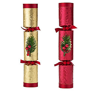 6 Red and Gold Luxury Christmas Crackers  alt image 3
