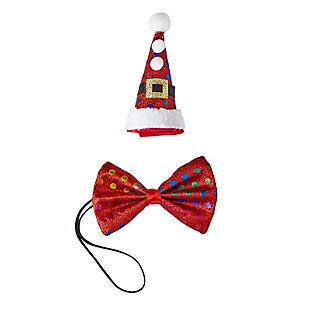 Novelty Mini Christmas Hat and Bow Tie Accessory Set
