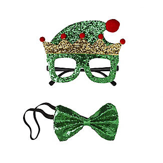 Glittery Elf Funglasses and Bow Tie Christmas Accessories