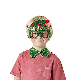 Glittery Elf Funglasses and Bow Tie Christmas Accessories alt image 3