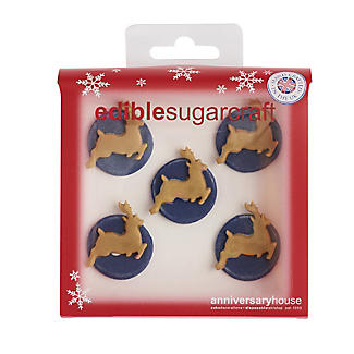 Midnight Sparkle Reindeer Sugarcraft Cake Toppers – Pack of 5