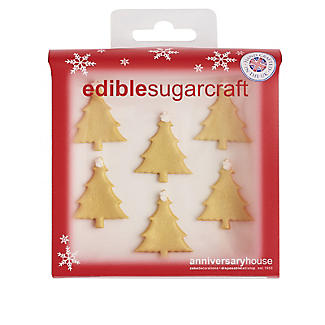 Glistening Gold Tree Edible Sugarcraft Cake Toppers – Pack of 6