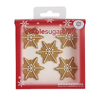 Gingerbread Snowflakes Edible Sugarcraft Cake Toppers – Pack of 6