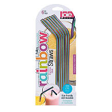 Joie Rainbow-Coloured Stainless Steel Drinking Straws – Pack of 6