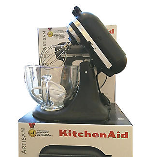 KitchenAid Artisan 4.8L Stand Mixer Matte Black Glass Bowl 5KSM156BBM  alt image 8