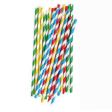25 Swantex Striped Paper Drinking Straws – Summer Colours