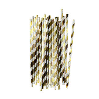 25 Swantex Striped Paper Straws – Christmas White and Gold alt image 1