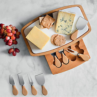 Lakeland Marble and Bamboo Cheeseboard and 4-Piece Knife Set alt image 2