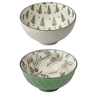 Festive Forest Textured Christmas Snack Bowls – Set of 2