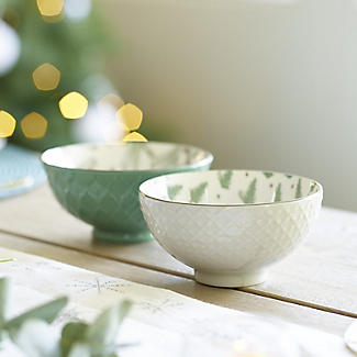 Festive Forest Textured Christmas Snack Bowls – Set of 2 alt image 2