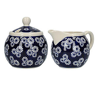 London Pottery Out of the Blue Sugar Bowl and Creamer Set