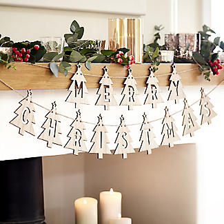 Merry Christmas Wooden Bunting Decoration alt image 2